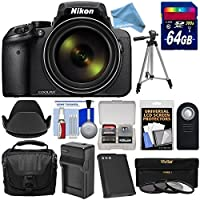 Nikon Coolpix p900Wi - Fi 83xズームデジタルカメラwith 64GBカード+バッテリー&充電器+ケース+三脚+ 3フィルタ+フード+ digitalandmoreフリーデラックスアクセサリーキットバンドル