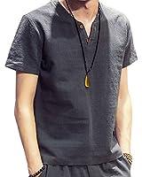 スウェット Vネック 半袖 Tシャツ 麻 無地 ストリート系 カジュアル シャツ メンズ gray L