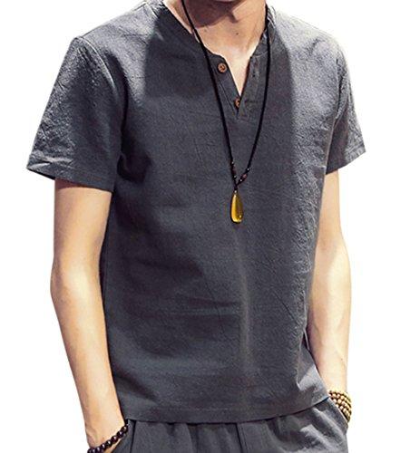 Vネック 半袖 Tシャツ 麻 無地 ストリート系 カジュアル シャツ メンズ gray 2XL