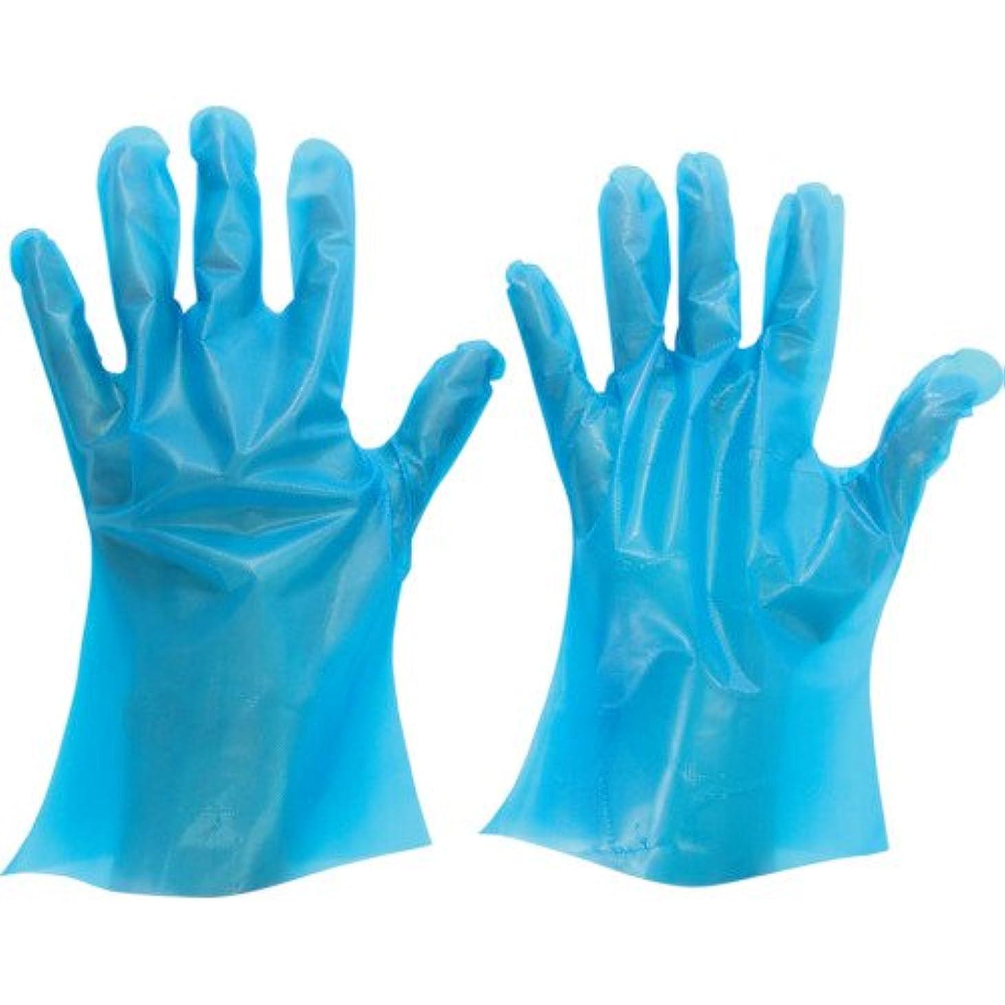 策定する軽蔑するエコーミドリ安全 ポリエチレン使い捨て手袋 厚手 外エンボス 200枚入 青 SS VERTE566NSS