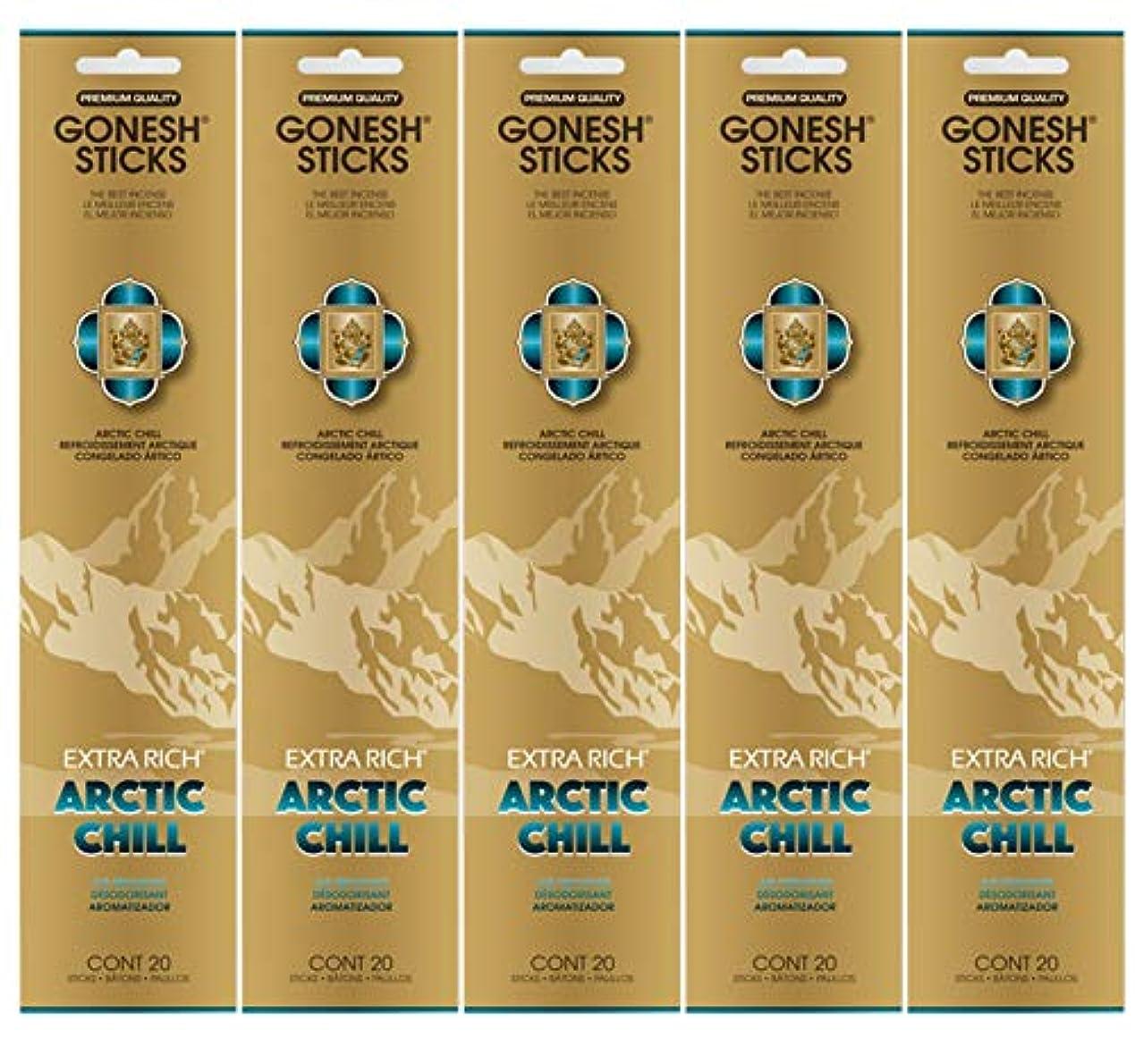 Gonesh お香スティック エクストラリッチコレクション - Arctic Chill 5パック (合計100本)