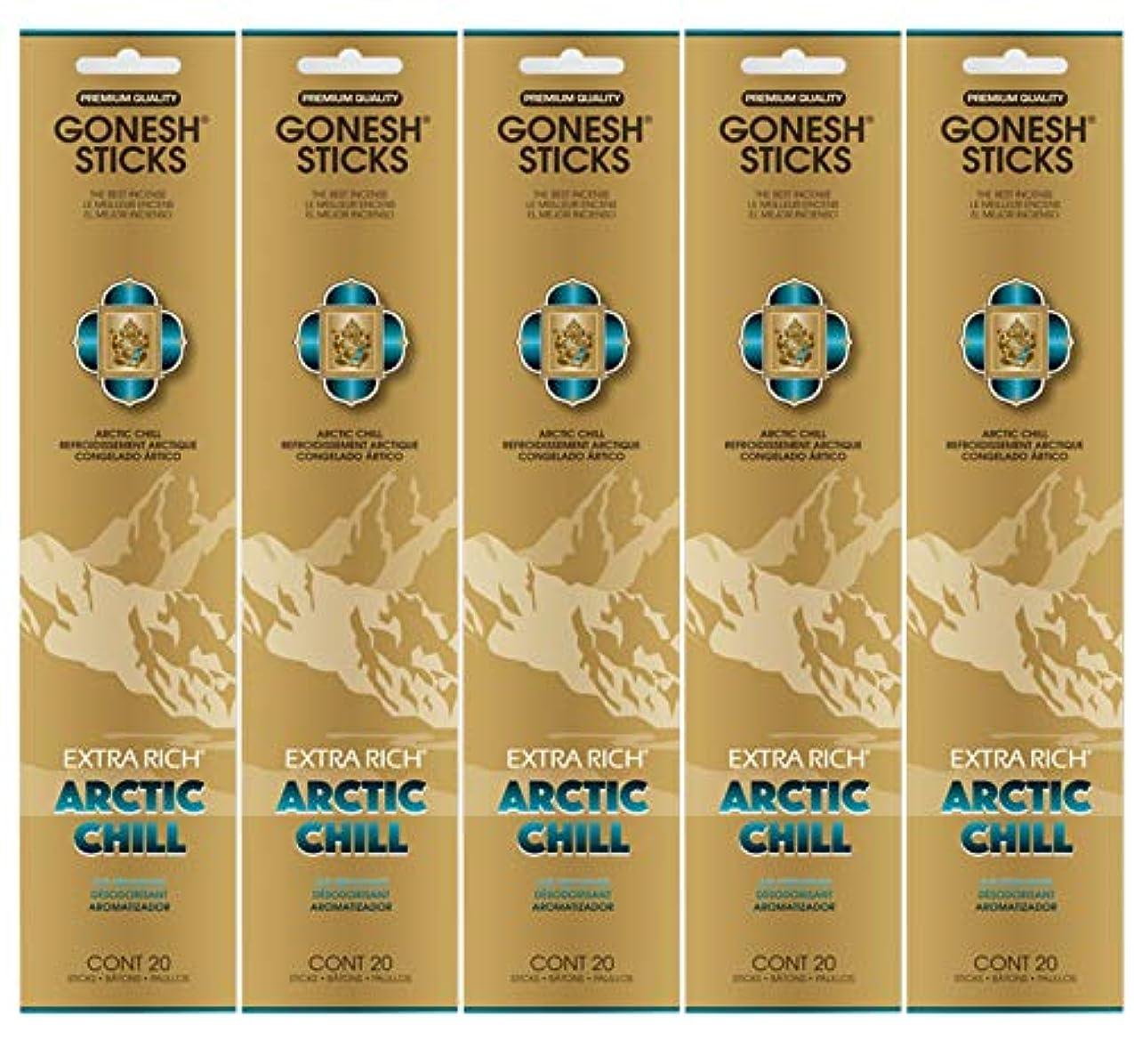 キロメートルシール権威Gonesh お香スティック エクストラリッチコレクション - Arctic Chill 5パック (合計100本)