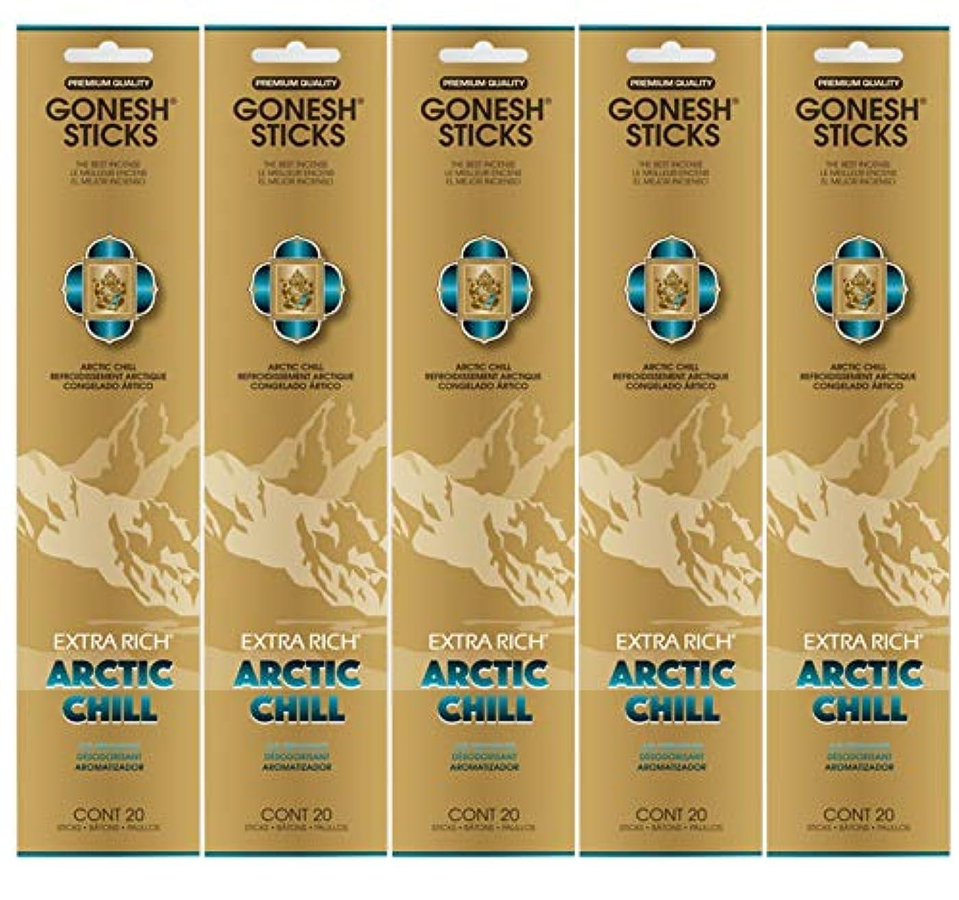 富ミケランジェロ王室Gonesh お香スティック エクストラリッチコレクション - Arctic Chill 5パック (合計100本)