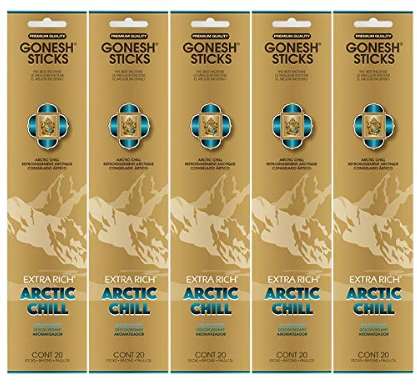 アーティスト対話止まるGonesh お香スティック エクストラリッチコレクション - Arctic Chill 5パック (合計100本)