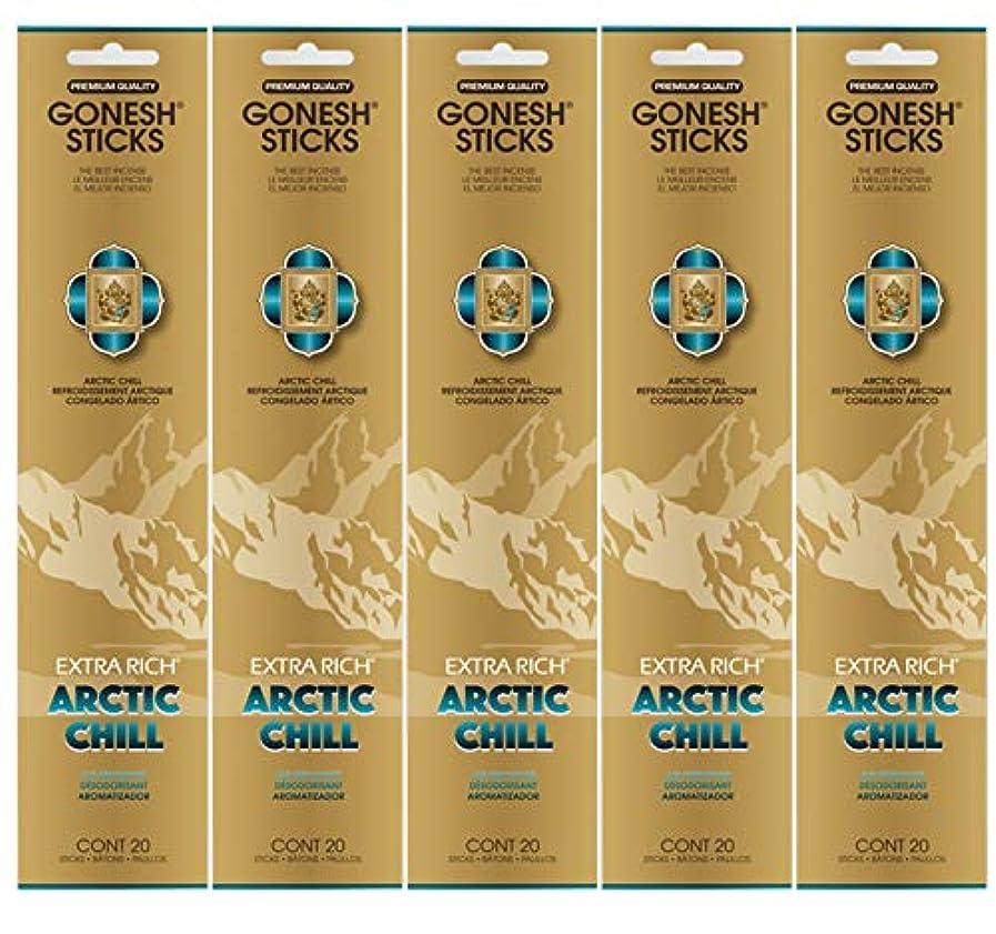酸っぱい人工沈黙Gonesh お香スティック エクストラリッチコレクション - Arctic Chill 5パック (合計100本)