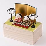 ひな人形 小さい ケース飾り 収納ケース 木札 S おくるみおぼこ雛 桐箱セット(苗色) リュウコドウ