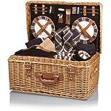 【アウトドアかごバッグ】ピクニック・キャンプに最適な4人分の必需品が豊富に揃ったバスケット [並行輸入品]
