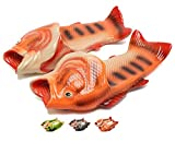 魚の形 スリッパ 男女兼用 軽量 通気性 面白い バスルーム 良好な柔軟性 ユニーク 面白いデザイン ビーチサンダル orange-42-43