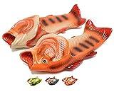 [Lijeer] 魚の形 スリッパ 男女兼用 軽量 通気性 面白い バスルーム 良好な柔軟性 ユニーク 面白いデザイン ビーチサンダル (21cm-22.5cmの足に適用), オレンジ)