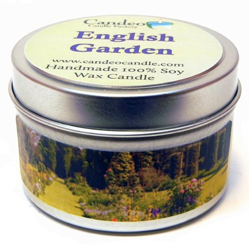 ご意見レスリング毛皮English Garden 4oz、スーパー香りつきSoy Candle Tin