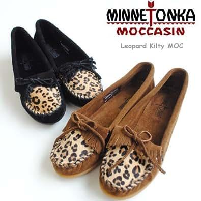 (ミネトンカ) MINNETONKA モカシン フリンジ Leopard Kilty MOC レオパード キルティモック US 8 Dk.Brown343F
