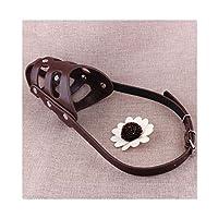 犬の口のカバー、柔らかい革の口のカバー、大および中型の犬のかみ傷防止犬のマスク、ペット用品、ブラック、ブラウンXL (Color : Brown, Size : XL)