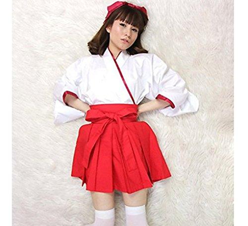 『【コスプレ】KISKIS dreampark コスチューム 巫女(白タイツ付き)2点 セット 和装 白色 赤色 (【Mサイズ】)KK277』の1枚目の画像