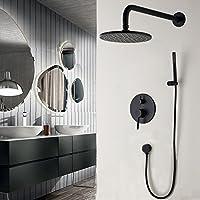 真鍮ブラックバスルームシャワーセット8インチrianfallシャワーヘッドシャワー蛇口ウォールマウントシャワーアームダイバータミキサーハンドヘルドセットmag.AL,Round,10Inch
