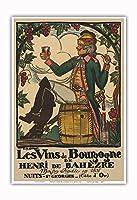 ブルゴーニュワイン、フランス - ワインメーカーHenri deBah?zre - ビンテージな広告ポスター によって作成された ガイ・アルヌー c.1916 - アートポスター - 33cm x 48cm