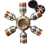 MRG ハンドスピナー 指スピナー Hand spinner Fidget Spinner 六角 取り外し式 禁煙 ストレス解消 暇つぶし 専用ケース付 (ゴールド)