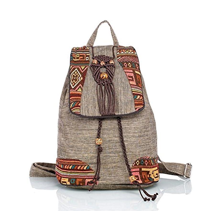 プレビューバーベキュー写真CKH ナショナルスタイルのアートバックパックショルダーバッグキャンバスソフトバックパック手織りの観光中国スタイルの実用的なパッケージ