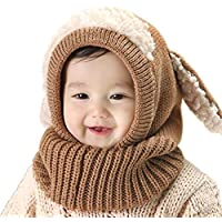 Sikimennzi 赤ちゃん キッズ カワイイ ベビーニット帽 ウサギちゃん 帽子 耳保護付き 無地 柔らかい 暖かい 防風 防寒 保温 春 秋 冬 (ブラウン)