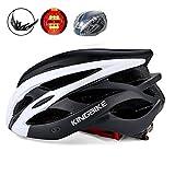 KINGBIKE 自転車 ヘルメット 大人 ジュニア用 ロードバイク サイクリング ヘルメット 超軽量 高剛性 LEDライト・ヘルメットレインカバー付き 男女兼用 56-60CM M/L