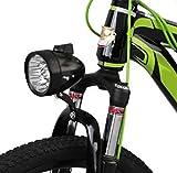 自転車 砲弾型 LED ヘッドライト 乾電池式 明るい 防水 簡単取付 配線不要 ブラック 3灯