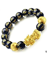 Fashionable Natural Stone Black Obsidian Pixiu Bracelet Pixiu Lucky Brave Troops Charms Jewelry for Women & Men - Gold & Black