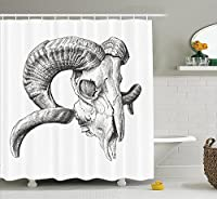 (180cm W By 190cm L, Multi 8) - Ambesonne Skulls Decorations Collection, Scary Mountain Goat Animal Skull Illustration in Dark Colours Dead Horns Wild Nature, Polyester Fabric Bathroom Shower Curtain, 190cm Long, Grey White