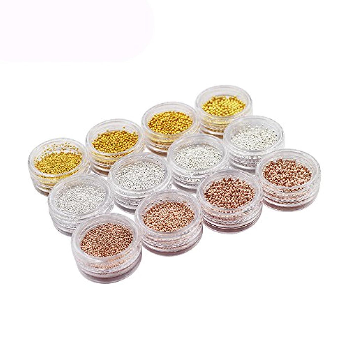 配列うぬぼれた監査メーリンドス ネイル3dデザインパーツ ネイルブリオン ゴールド&シルバー&バラゴールド 0.8/1.0/1.2/1.5mm 4サイズ3色 12本セット