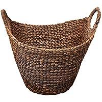 ウォーターヒヤシンス収納バスケット(ダークブラウン) 持ち手付 収納 シンプル ナチュラル 手編み 可愛い オシャレ