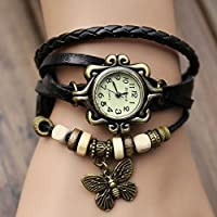Weave Womens Leather Bracelet GIap Rivet Analog Quartz Bracelet GIist Watch