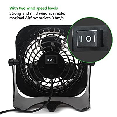 OPOLAR Mini Desk Fan, 2 Speeds, Lower Noise, USB Powered, 360° Up and Down, 1.2M Cable, Powerful Black Fan for Home and Office