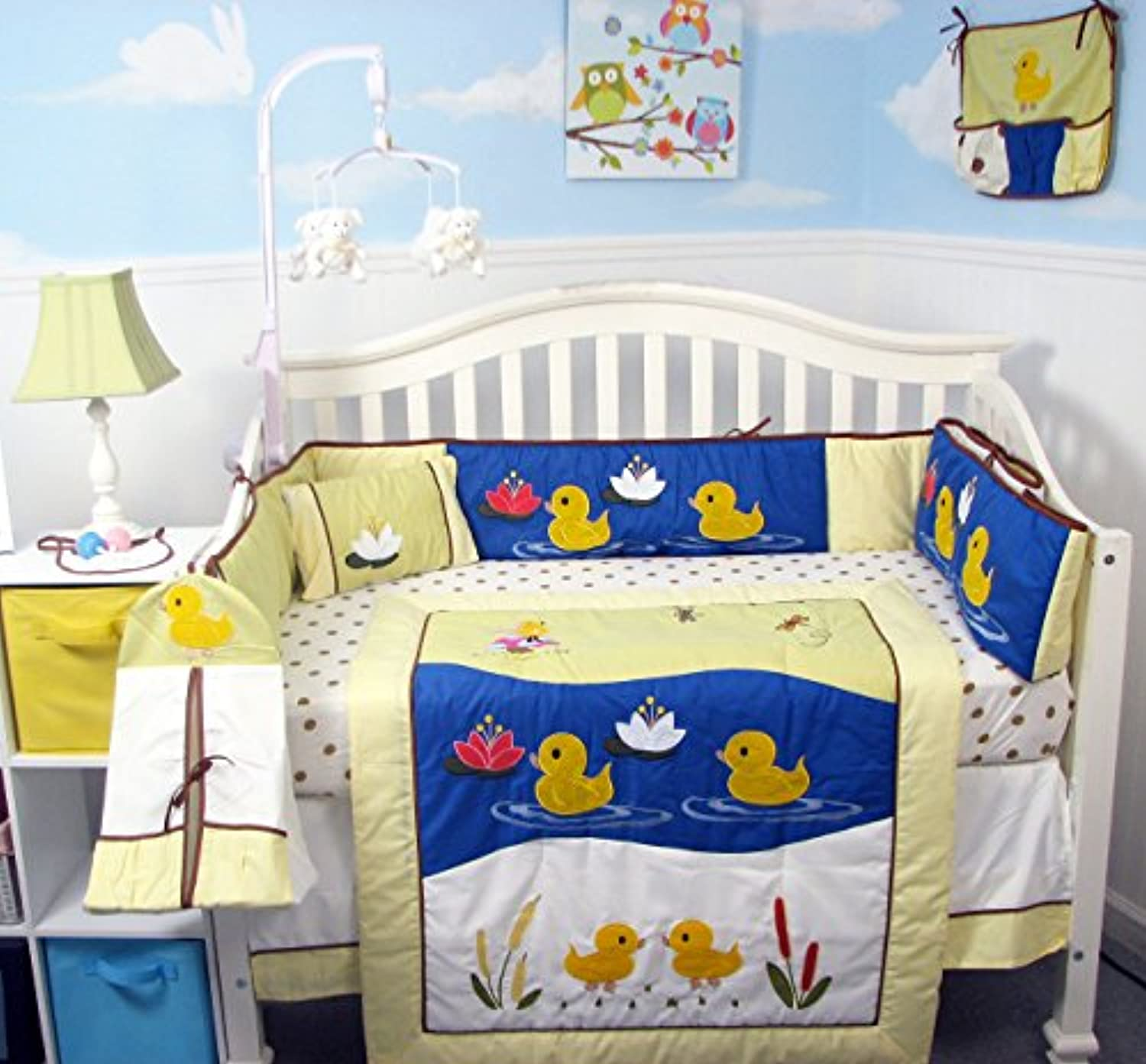 SoHo Quack Quack Ducks Baby Crib Nursery Bedding Set 13 pcs included Diaper Bag with Changing Pad & Bottle Case by SoHo Designs