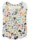 (アチックガール)Achicgirl お洒落 プリント丸首キャップ袖ルーズフィット Tシャツ (ワンサイズ, 猫たち)