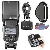 Neewer GN602.4GマニュアルHSSマスタースレーブフラッシュスピードライト Mi シュー付きのSony カメラに対応 セット内容:NW865Sフラッシュ、N1T-Sトリガー、S型ブラケット、16*16インチソフトボックス、20枚カラーフィルター