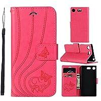 LoveBee Sony Xperia XZ2 MINI Wallet Multi Card Holder グリップ 専用カバー Folio PU Leather Cover With 専用カバー Case For Sony Xperia XZ2 MINI - Rosy