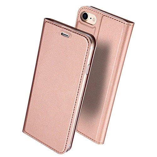 iPhone6ケース iPhone6s ケース 手帳型 薄型 軽量 耐衝撃 耐摩擦 高級PUレザー 財布型 カード収納 マグネット スタンド機能 付 き スマホケース アイフォンケース 人気 おしゃれ ケース (iPhone6/6s, ローズゴールド)