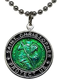 St. Christopher Surf Necklace Large Pendant Green with Black Rim 23 Inch Ball Chain