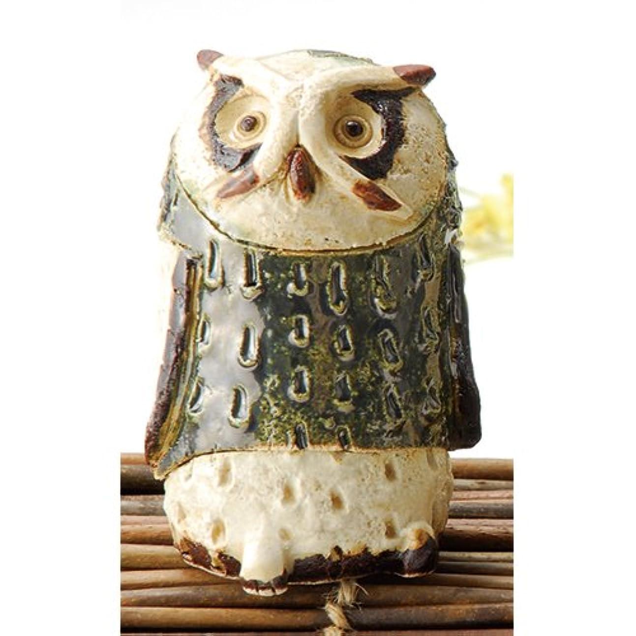 羊のまたね導出香炉 白萩 フクロウ 香炉(大) [H11cm] HANDMADE プレゼント ギフト 和食器 かわいい インテリア