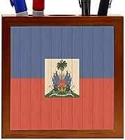 Rikki Knight Haiti Flag on Distressed Wood Design 5-Inch Wooden Tile Pen Holder (RK-PH8546) [並行輸入品]