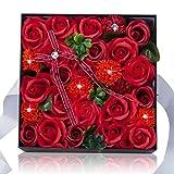 石鹸バラプレゼントボックスは仲間のよい親友に送るだけでなく 引越し 母の日 誕生日バレンタインデーのプレゼント 感謝祭 クリスマスの一番いいプレゼントである人工バラ (red) AYOYO XZH-14-10