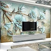 Bzbhart 咲く豊かなレトロな花と鳥モダンなミニマリストの抽象的な壁カスタム大壁画壁紙壁画-350cmx245cm