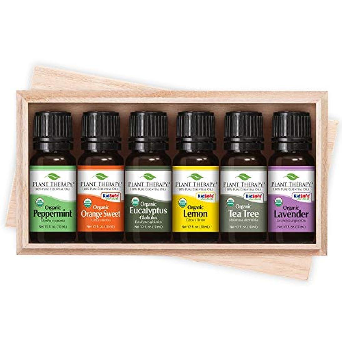 植物セラピートップ6 USDA認定オーガニックエッセンシャルオイルを設定します。含まれるもの:ユーカリ、ラベンダー、オレンジ、ペパーミント、レモンやティーツリーを。 10mLの(1/3オンス)それぞれ。