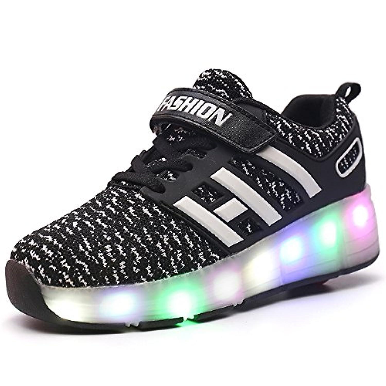 LED靴 ローラーシューズ ローラー靴 LEDスニーカー 光る靴 発光靴 LEDライト付き 子供/大人共用 男女兼用 両輪タイプローラーシューズ シューズ