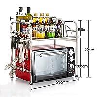 WENZHE キッチン用収納棚ステンレス製調味料ラック電子レンジ用ラック2サイズ10タイプあり (色 : 1#-6 hooks)
