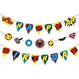 BeYumi スーパーヒーロー 誕生日バナー カラフルなクラブハウスパーティーデコレーションキット スーパーヒーローガーランドパーティー 子供の誕生日テーマのアイデア パーティー あらゆる年齢に最適なパーティーデコレーションパック