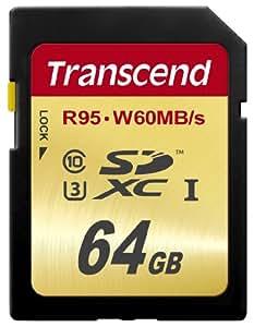 【Amazon.co.jp限定】 Transcend SDXCカード 64GB UHS-I U3対応 (最大読込速度95MB/s,最大書込速度60MB/s) U3シリーズ 4K動画撮影 無期限保証 TS64GSDU3E (FFP)
