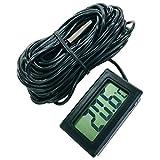 簡単便利 小型 デジタル 温度計 とっても 長い コード 10メートル -50℃~+110℃ (コード長10M 黒)
