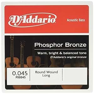 D'Addario Corde seule en bronze phosphoreux pour basse acoustique D'Addario PBB045, corde longue, .045