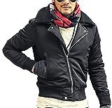 [ミックスリミテッド] MA-1 メンズ アウター ジャケット ミリタリージャケット ファー ボア 中綿 暖かい F1053-BLK-L