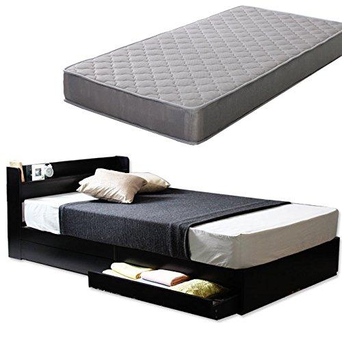 【ポケットコイルマットレス付】棚 引き出し収納 ベット 収納付き 木製ベッド コンセント付き 収納ベット 引き出し付きベッド カラー:ブラック 黒 サイズ:Dサイズ ダブル