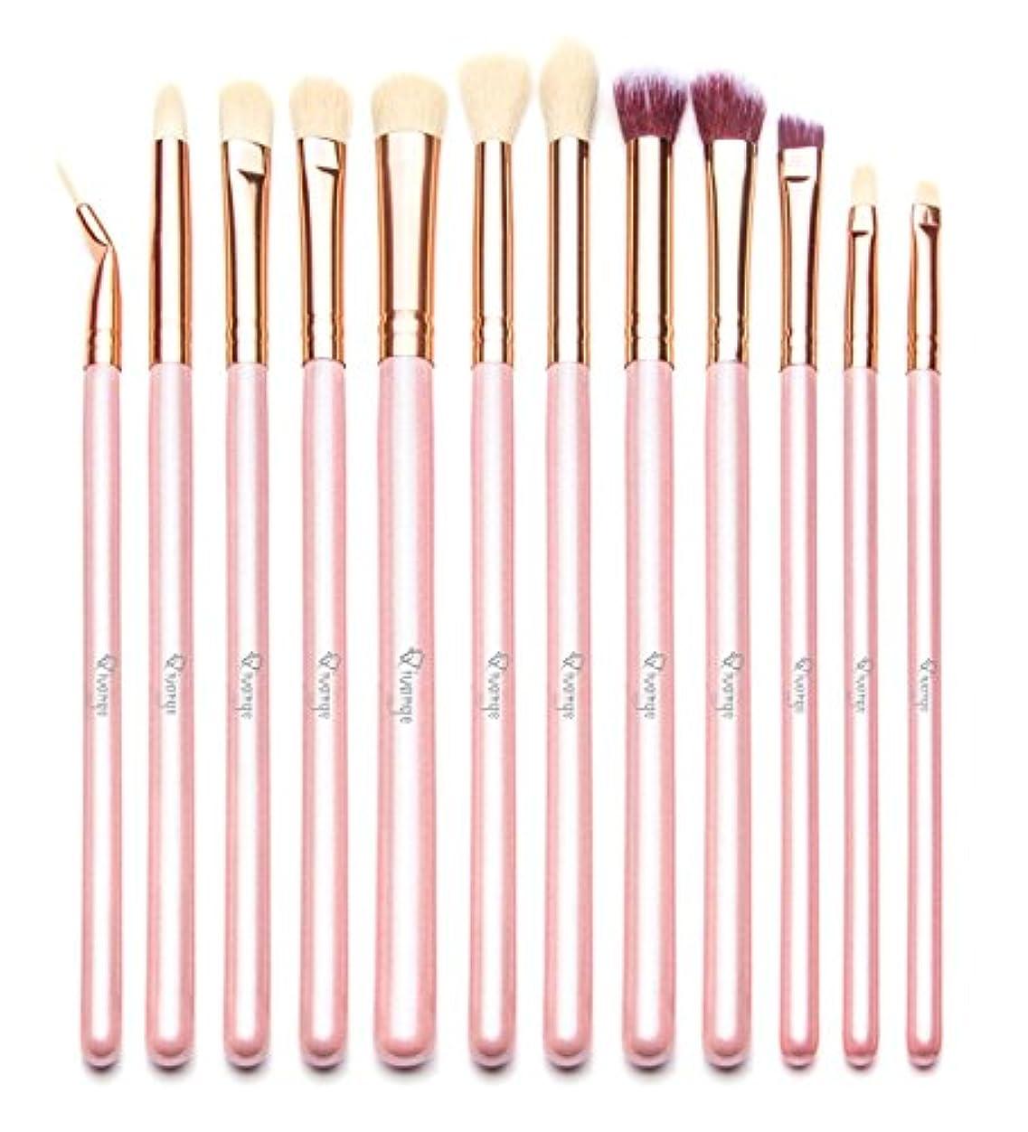 夫魔術師包帯Qivangeアイシャドウブラシ 12本セット 可愛いメイクブラシ 手柄キラキラ 化粧筆 化粧ポーチ付き 旅行に便利(ピンク) …